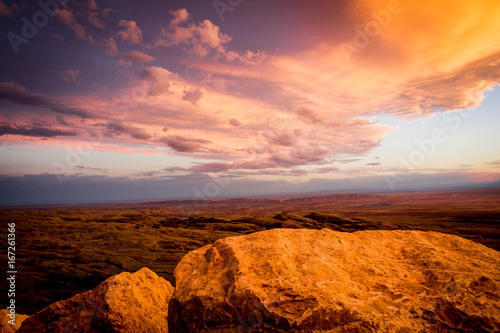 Poster Brown Mountain View Sunset