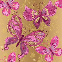 Vintage Pink Butterfly On A Go...