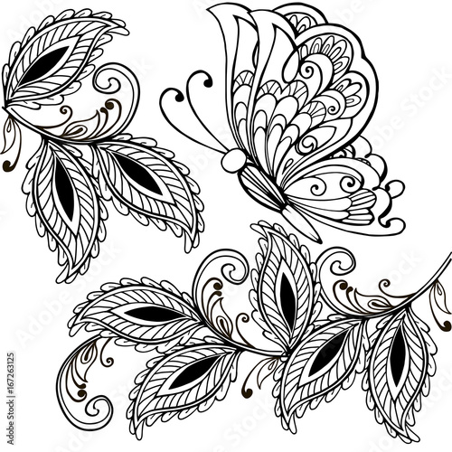 Hand Drawn Butterfly And Decorative Leaves Adult Anti Stress