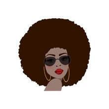Beautiful Portrait Of An African American Woman In Vector Format.