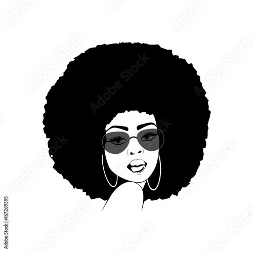Beautiful portrait of an African American woman in vector format. Wallpaper Mural