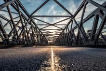 Sunset Over Steel Bridge In The Hamburg Hafencity