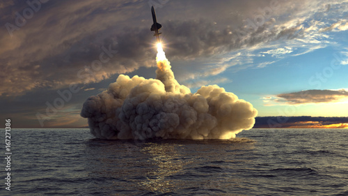 cruise missile launched from the water 3d illustration Canvas Print