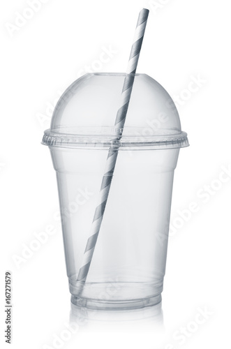 Plastic clear cup with dome lid and straw