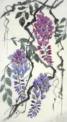 Panel Szklany Egzotyczne Tender flowering wisteria