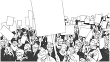 Illustration Of People Protesting With Blank Signs And Banners