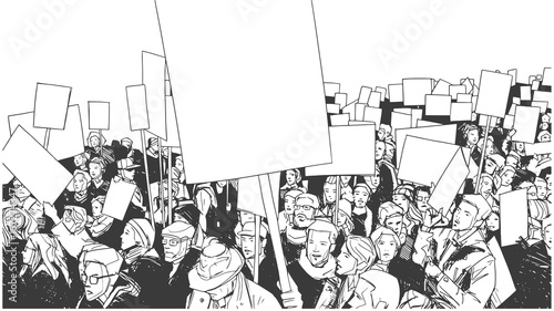 Cuadros en Lienzo Illustration of people protesting with blank signs and banners
