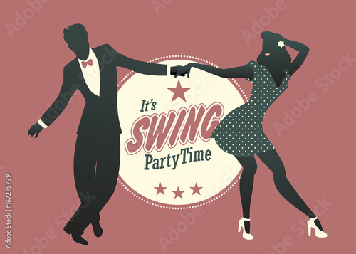 Fotografia  Young couple silhouette dancing swing, lindy hop or rock and roll