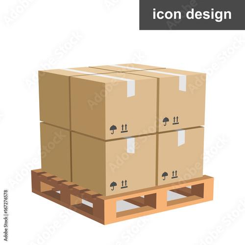 Fotografía Vector icon cargo boxes pallet