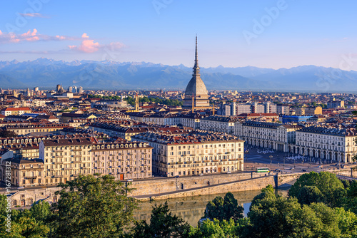 Stampa su Tela Cityscape of Turin and Alps mountains, Turin, Italy