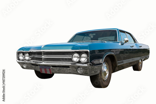 Fotografie, Tablou Colorful classic old car - isolated on white background