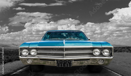 Colorful classic old car - on black and white background Fototapet