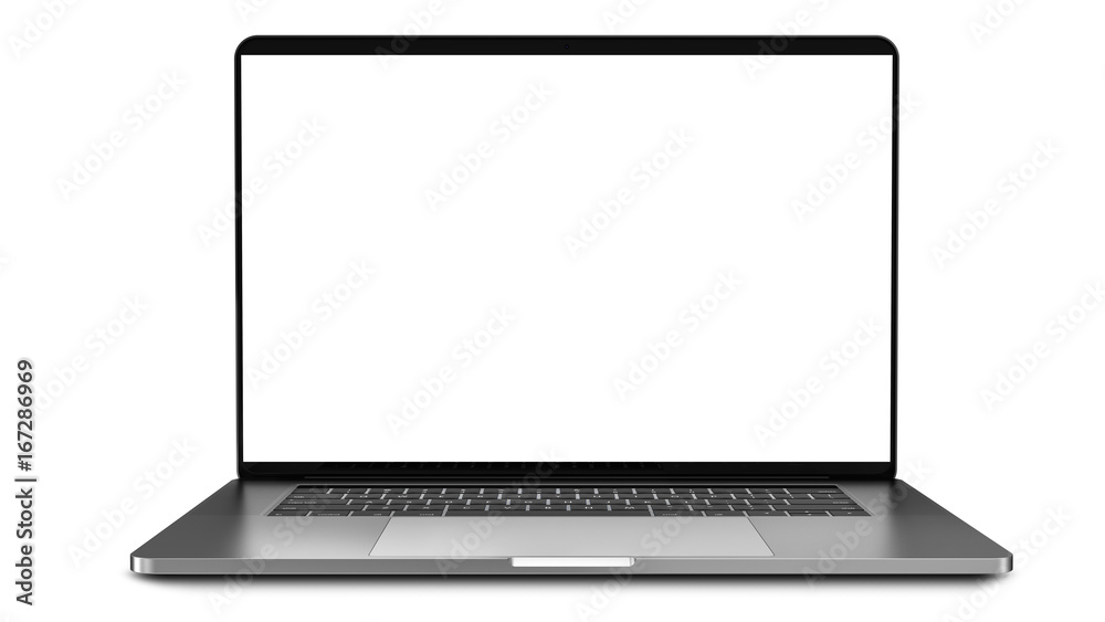 Fototapeta Laptop with blank screen isolated on white background, white aluminium body.Whole in focus. High detailed. Template, mockup.