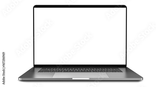 Fotografia  Laptop with blank screen isolated on white background, white aluminium body