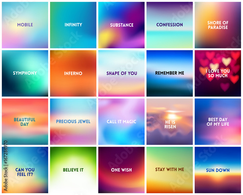 Big Set Of 20 Square Blurred Nature Backgrounds With Various Quotes