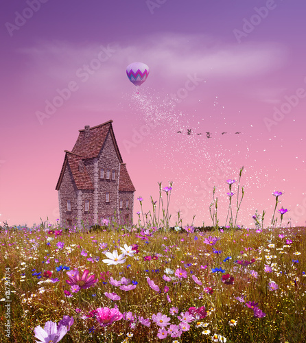 fantasy-field-with-flowers-a-small-house-balloon-and-pink-sky-3d-rendering