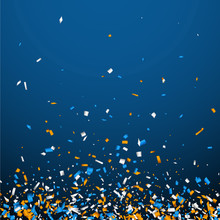 Blue Background With Colorful Confetti.
