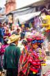 Leinwanddruck Bild Indigenous maya market in Chichicastenango in Guatemala