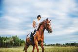 Fototapeta Konie - Girl jockey riding a horse