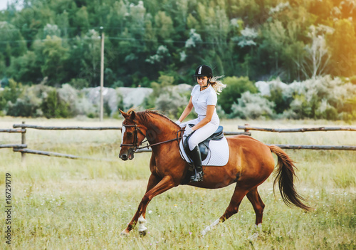 Papiers peints Equitation Girl jockey riding a horse
