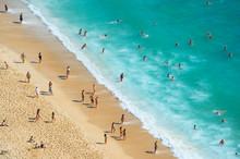 Crowded Ocean Beach. Aerial View