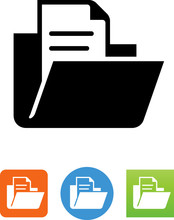 Open Folder With Document Icon - Illustration