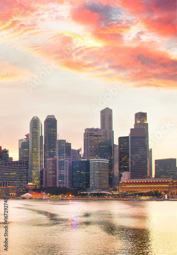 Singapore Downtown at sunset Poster