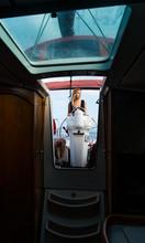 Woman Posing At Steering Wheel