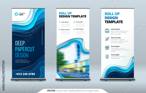 Obraz Business Roll Up Banner stand. Presentation concept. Abstract modern roll up background. Vertical template billboard, banner stand or flag design layout. Poster for conference, forum, shop - fototapety do salonu