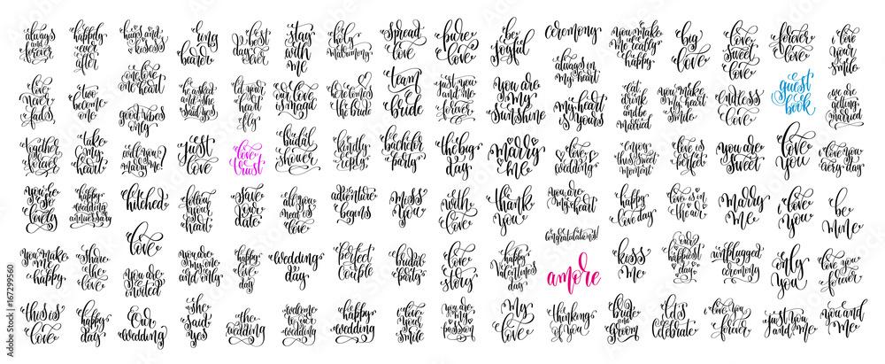 Fototapeta set of 100 hand lettering wedding invitation and romantic valent