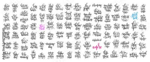 Fotografia, Obraz set of 100 hand lettering wedding invitation and romantic valent