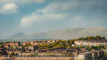 Cityscape Of Glasgow, Scotland With Greenbelt In Background