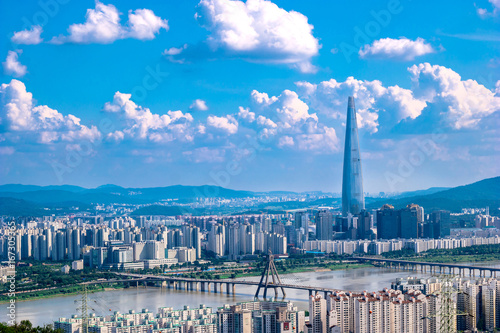 South Korea. Seoul City and skyline with skyscrapers. Canvas Print