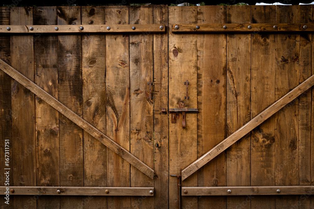 Fototapeta Puerta vieja de madera con cerradura