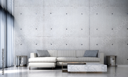 Canvastavla 3D rendering interior design of loft living room and concrete wall