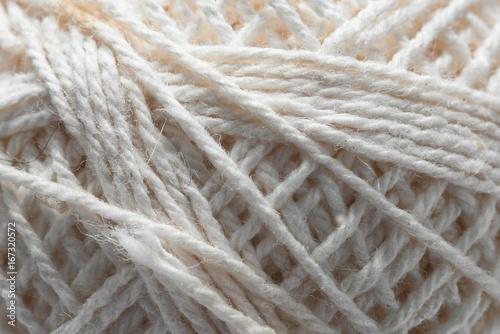 Fotografie, Obraz  Texture of white skein of wool macro