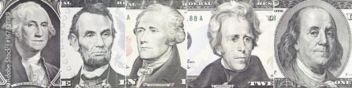 Photo  American presidents set  portrait on dollar bill  closeup