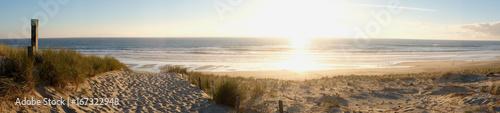 Foto auf Gartenposter Strand coucher de soleil dans la forêt pres de la dune de plage