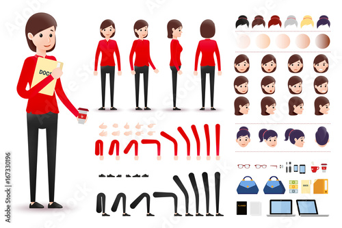 Female Clerk Character Creation Kit Template with Different Facial ...
