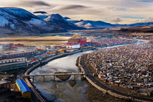 Landscape View Of The Yarchen Gar Monastery With Many Shacks For Monks In Garze Tibetan,Sichuan,China. There Is The Giant Monasteries Of Kham &the Largest Concentration Of Nuns And Monks In The World.