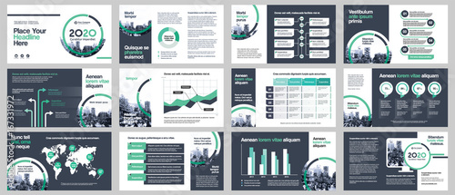 Fototapeta City Background Business Company Presentation with Infographics. Corporate Design Media Layout, Book Cover, Flyer, Brochure, Annual Report for Advertising and Marketing obraz