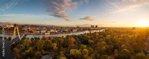 Printed kitchen splashbacks Eastern Europe Autumn panorama of Bratislava, Slovakia capitol