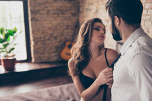 Pure Seduction. Sexy Naughty Young Brunette Lady In Sexual Nice Black Silk Underwear Is Going To Kiss Her Lover, Pulling His Tie, So Hot, Horny And Provocative!