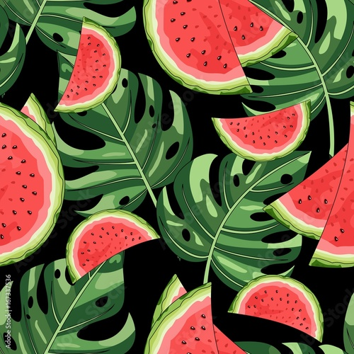 Cotton fabric Seamless pattern with watermelon and tropical leaves in the background. Vector illustration.
