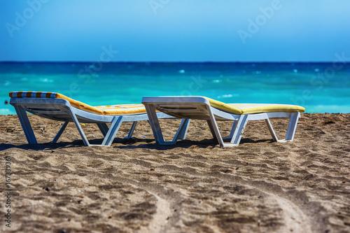 Poster Egypte Sun beds on the beach of Manavgat, Turkey