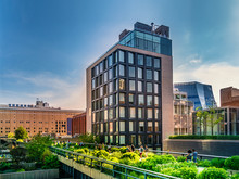 The High Line Park In Manhattan New York. The Urban Park Is Popular By Locals And Tourists Built On The Elevated Train Tracks Above Tenth Ave In New York City