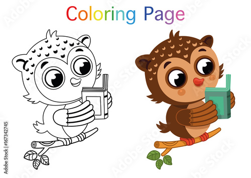 Cartoon Owl For Coloring Page Activity. Vector illustration ...