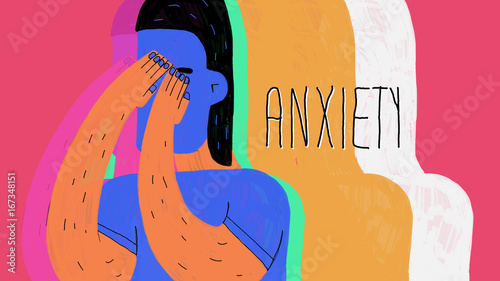 Stampa su Tela anxiety illustration colorful