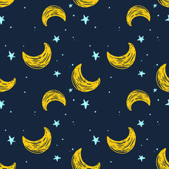 Tapeta Seamless pattern with moon and stars