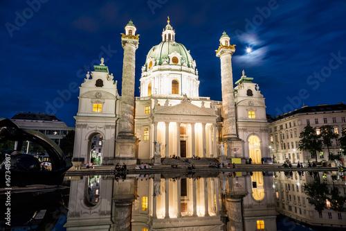 Poster Karlskirche church in Vienna at night